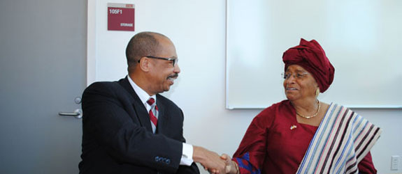 President of Liberia visits Texas Southern University